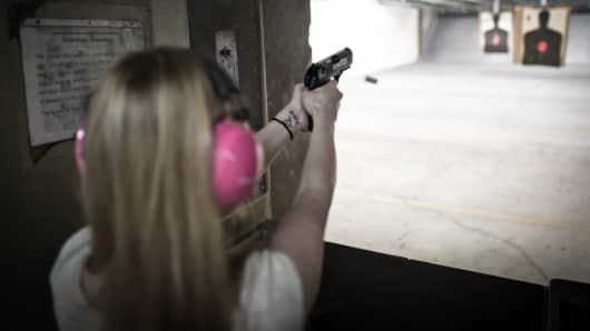 'Pistol Packing Ladies' shooting club member Alison practices her skills at the shooting range outside Fredericksburg, Virginia.