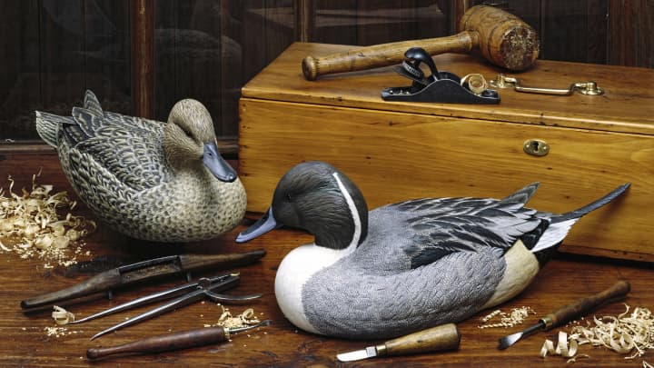 Antique wooden ducks.