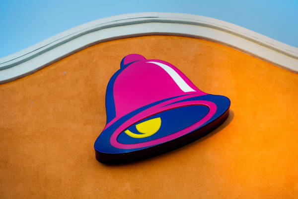 The logo for Taco Bell displayed outside a restaurant in Daly City, Calif.