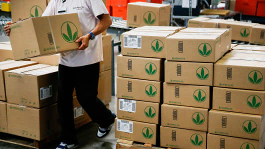 Products are prepared for shipment at the Herbalife Los Angeles distribution center in Carson, California.