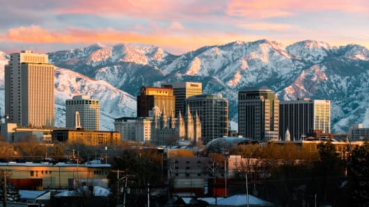 Downtown Salt Lake City and mountains