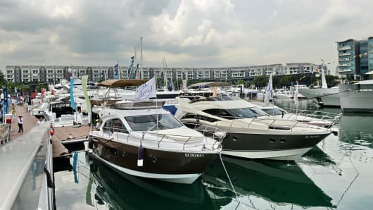 Luxury boats and yachts on display during the Singapore Yacht show at ONE°15 Marina Club at Sentosa cove.