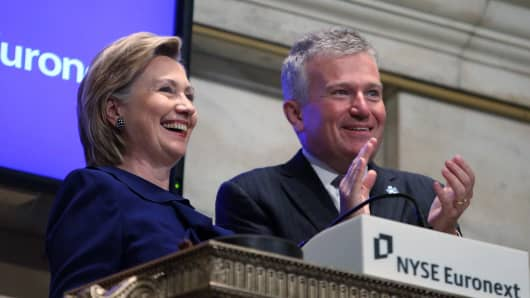 Hillary Rodham Clinton (L) rings the opening bell at the New York Stock Exchange.