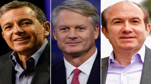 Bob Iger, CEO of Walt Disney Corp, John Donahoe, CEO of Ebay and Pierre Dauman, CEO of Viacom. These three companies' boards pay CEOs above the median of the company's self-selected peers.