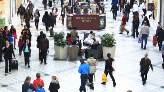 Shoppers flocked to the South Shore Plaza mall in Braintree, MA.