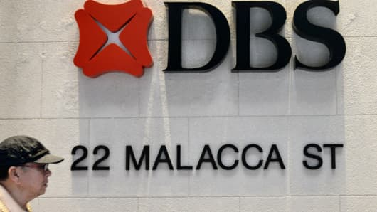 A DBS bank logo at one of its branches in Singapore.
