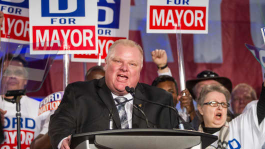 Toronto Mayor Rob Ford speaks during the kick off of his re-election campaign at a rally on April 17, 2014