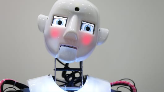 The RoboThespian interactive humanoid robot, developed by Engineered Arts Ltd