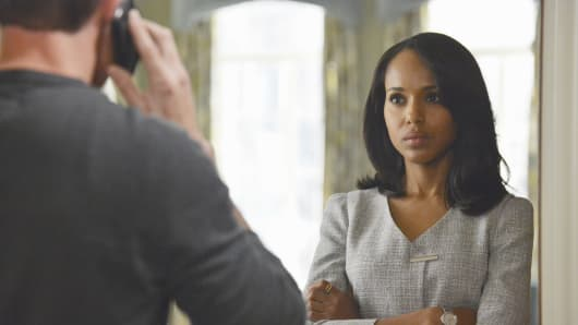 Kerry Washington playing Olivia Pope in a scene from 'Scandal'.