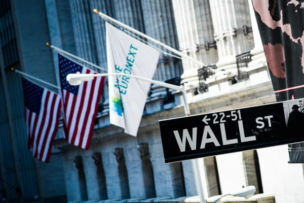 NYSE EuroNext flag hangs outside the NYSE.