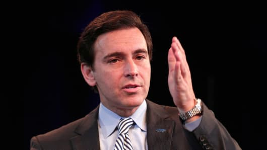 Ford COO Mark Fields at a press conference where it was announced that effective July 1 Fields will succeed Ford President and CEO Alan Mulally as president and chief executive, May 1, 2014 at Ford Headquarters in Dearborn, Michigan.