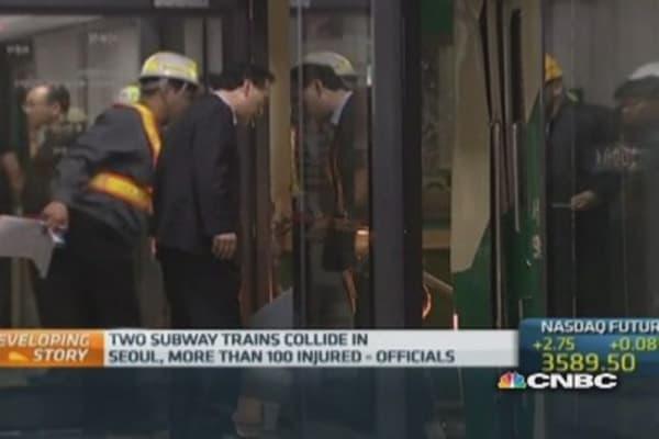 Seoul subway trains collide
