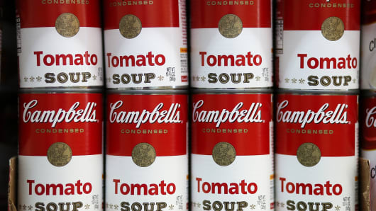 Campbell's tomato soup is displayed at Santa Venetia Market on May 20, 2013, in San Rafael, California.
