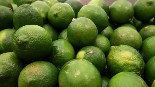 Limes are displayed at Cal-Mart Grocery on March 27, 2014 in San Francisco.