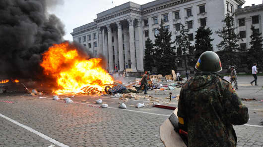Violence in Odessa as pro-Russian and pro-Ukrainian activists clashed on Friday.