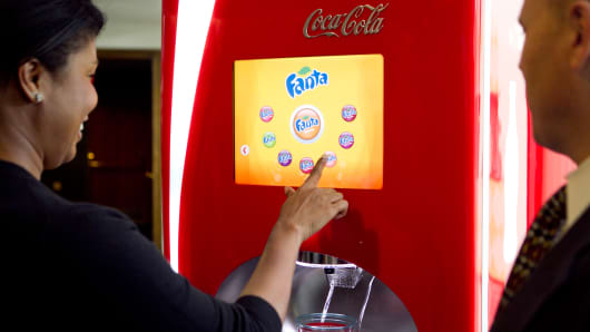 A Coca-Cola Co. Freestyle beverage dispenser is demonstrated in Washington.