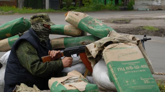 A pro-Russian separatist in the town of Semenevka in Slavyansk, Ukraine.