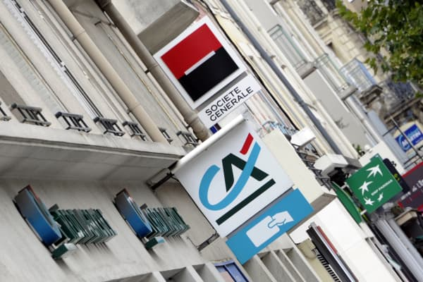Logos of French banks Societe Generale, Credit Agricole and BNP Paribas