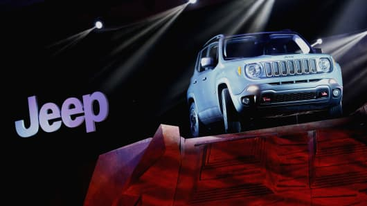 The Chrysler Group LLC Jeep Renegade Trail Hawk sport utility vehicle (SUV) is unveiled at the 2014 New York Auto Show.