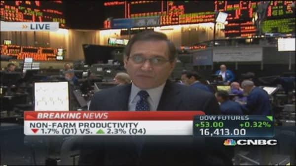 Q1 productivity down 1.7% , labor cost up 4.2%