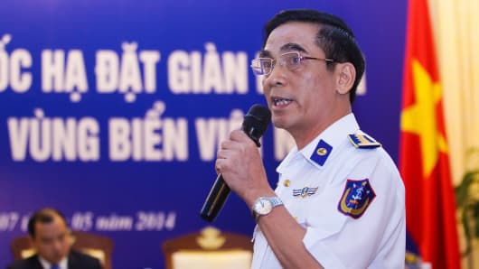 Vietnam Maritime Police's Deputy Commander Do Ngoc Thu speaks during a press conference on the latest maritime tension between Vietnam and China in Hanoi on May 7, 2014.