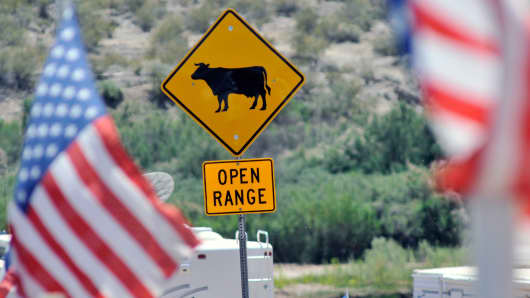 American flags flies near a highway sign alerting motorists of possible cattle along Nevada Highway 170 on April 24, 2014 in Bunkerville, Nevada.