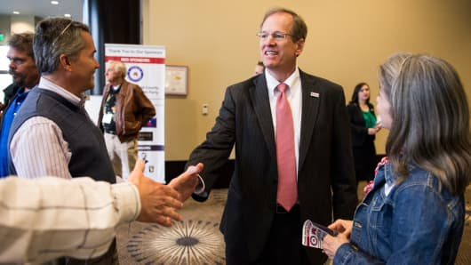 Rep. Jack Kingston, R-Ga., arrives for the debate of Republican candidates for Georgia's open Senate seat at the Columbia County Exhibition Center in Grovetown, Ga., in April 2014.