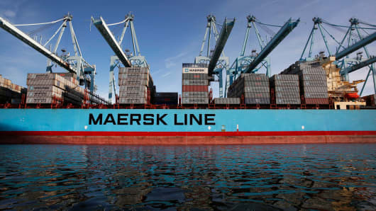 The Maersk Alfirk container ship is unloaded at the Port of Los Angeles in San Pedro, Calif., April 8, 2014.