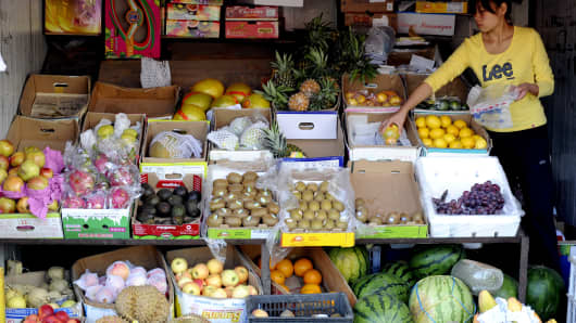 Produce is displayed for sale at a market in Beijing, China.
