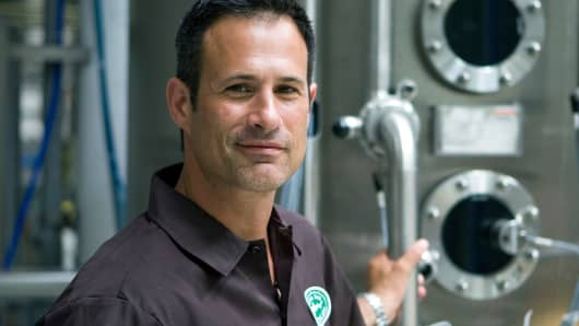 Sam Calagione, founder and president of the Dogfish Head Craft Brewery Inc., poses at the brewery in Milton, Delaware, in 2011.