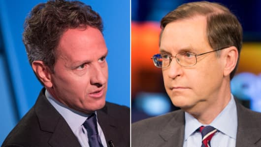 Timothy Geithner and Glenn Hubbard.