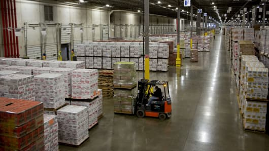 Cases of Diageo Plc products sit in a distribution warehouse in Bolingbrook, Illinois.