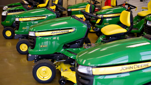 John Deere lawn tractors sit on display at Klein Equipment, a John Deere dealership in Galesburg, Illinois.