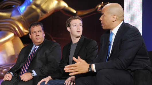 New Jersey Gov. Chris Christie, Facebook CEO Mark Zuckerberg and Newark Mayor Cory Booker visit EDUCATION NATION, an educational summit on Rockefeller Plaza.