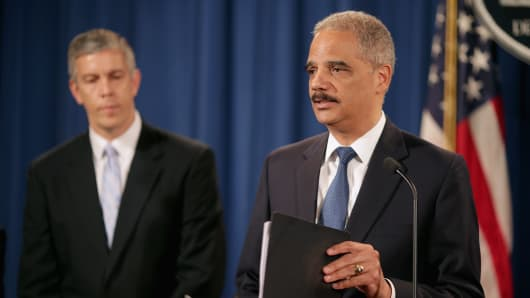 Attorney General Eric Holder and Education Secretary Arne Duncan announced the proposed settlement with Sallie Mae yesterday in Washington, D.C.