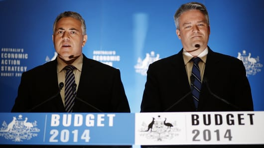 Australia's Treasurer Joe Hockey and Finance Minister Mathias Cormann.