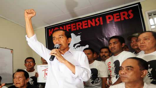 Popular presidential candidate of main opposition party Indonesian Democratic Party of Struggle (PDI-P) and Jakarta Governor Joko Widodo.