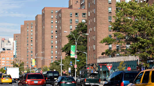 Looking up First Avenue showing the Stuyvesant Town-Peter Cooper Village complex in New York.
