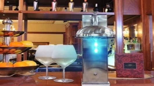Vinotemp's new Il Romanzo CO2 Glass Chiller with blue LED li