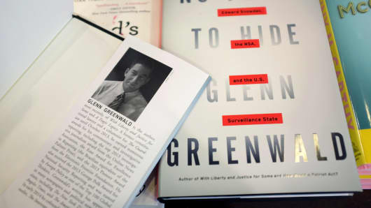 Glenn Greenwalds new book, 'No Place to Hide,' is seen at a book store on May 13, 2014 in Miami.