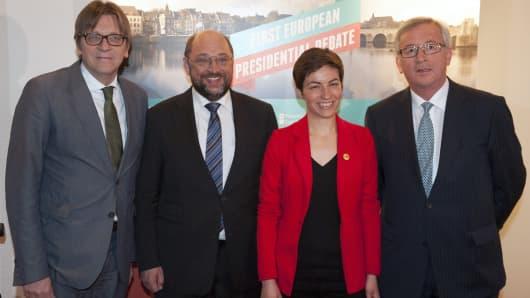 (From L-R) Guy Verhofstadt, Martin Schulz, Franziska Keller aka Ska Keller, and Jean-Claude Juncker.
