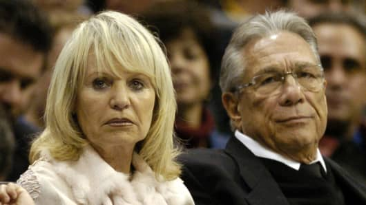 Shelly and Donald Sterling attend and L.A. Clippers game.