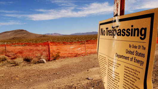 "A ""no trespassing"" sign outside the proposed nuclear waste dump site of Yucca Mountain in Nevada."
