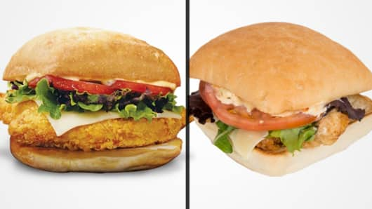 Wendy's Tuscan Chicken on ciabatta sandwich (left: promotional image; right: CNBC's order)