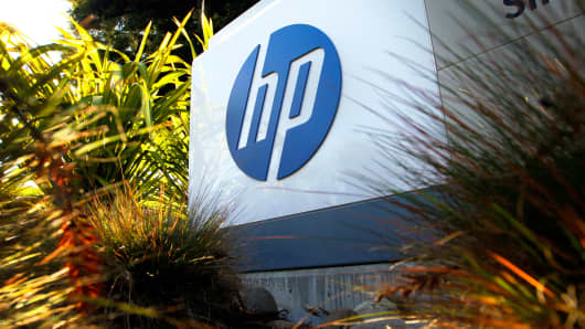 The Hewlett-Packard logo is displayed on a sign at the company's headquarters in Palo Alto, Calif.