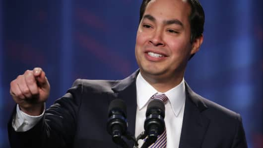 Mayor of San Antonio, Texas, Julian Castro speaks during the opening plenary session of Families USA's Health Action 2014 conference January 23, 2014 in Washington, DC.
