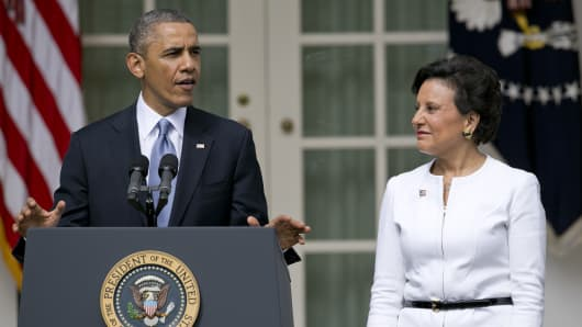 President Barack Obama with Secretary of Commerce, Penny Pritzker.