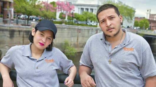 Kasandra Vega and Luis Mateo, who left high school without a degree, are involved in the culinary program of the United Teen Equality Center, in Lowell, Mass.