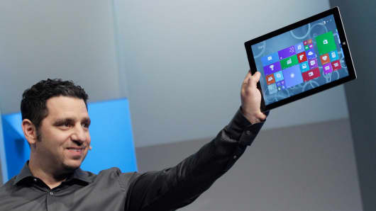 Panos Panay, Microsoft's vice president for surface computing, introduces the Surface Pro 3 tablet device, Tuesday, May 20, 2014 in New York.