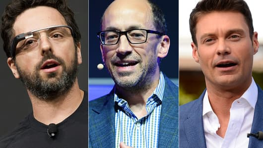 From left: Sergey Brin, Dick Costolo, Ryan Seacrest